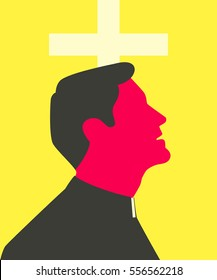 Stylized silhouette of catholic priest which is looking up in front of the cross.