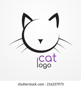 Stylized silhouette of cat's head - abstract logo