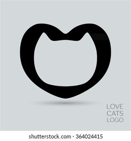 Stylized silhouette of cat's head in heart - abstract logo