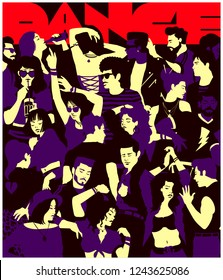 Stylized silhouette of crowd of people dancing at party nightlife event in a club, casual mixed group of young adults partying together, simple minimal pop art style flat design vector illustration
