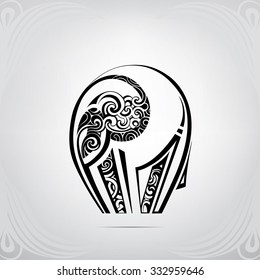 The stylized silhouette of an elephant