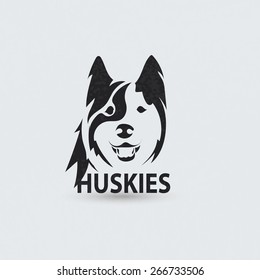 Stylized silhouette face huskies. Artistic creative logo design. Vector illustration