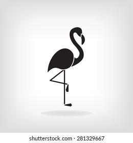 Stylized silhouette of a flamingo. Logo design for the company.