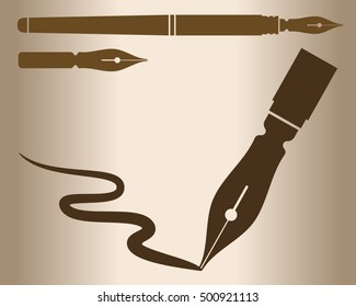 Stylized silhouette of a fountain pen. Vector illustration.