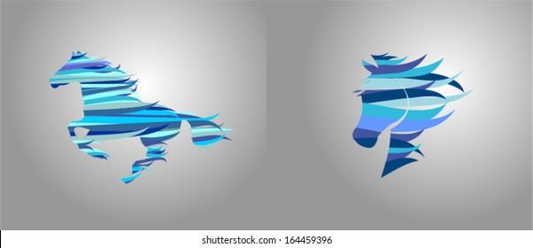 Stylized silhouette horse.Stylized Horse head