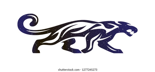 Stylized silhouette of running aggressive panther. Vector wildcat animal illustration, night sky color silhouette isolated on white background.