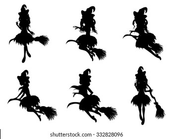 Stylized silhouettes of the Halloween witch on a broomstick.