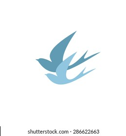 Stylized silhouettes of two swallows. Logo design for the company.