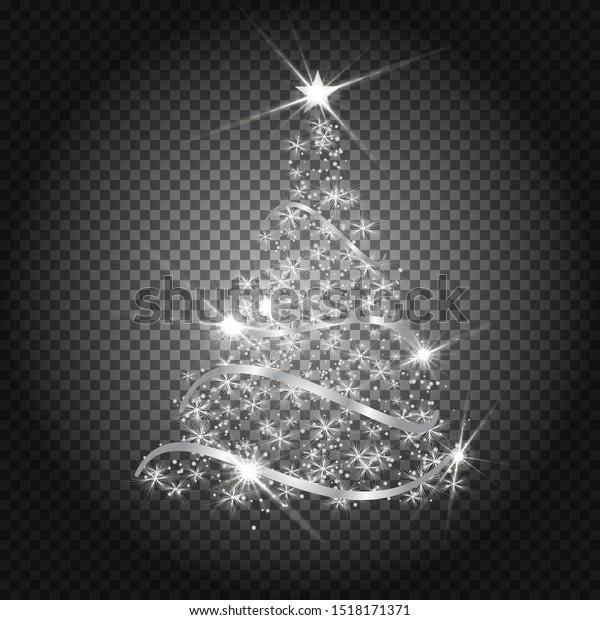 Stylized Silver Christmas tree on transparent background. Bright shiny design. Symbol of Happy New Year, Merry Christmas holiday celebration. Silver glitter light decoration. EPS10