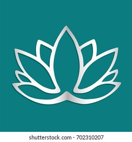 Stylized silver lotus flower logo on blue background Hand drawn fantasy design for tattoo, fabric cloth, poster print. Yoga studio logo. Metallic silver flower silhouette. Zen symbol. Buddhist art.