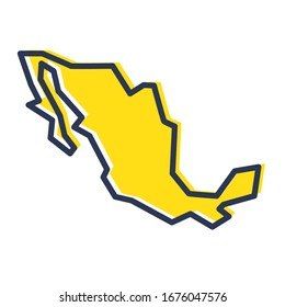 Stylized simple yellow outline map of Mexico