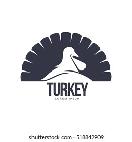 Stylized simplified turkey silhouette graphic logo template, vector illustration on white background. Black and white front view simplified turkey for business, farm, poultry logo design