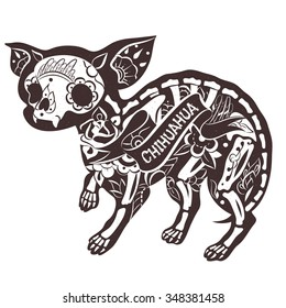 Stylized skeleton Chihuahua. Vector Floral Chihuahua. Vector illustration