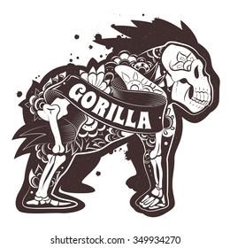 Stylized skeleton Floral Gorilla. Vector Floral Gorilla. Vector illustration