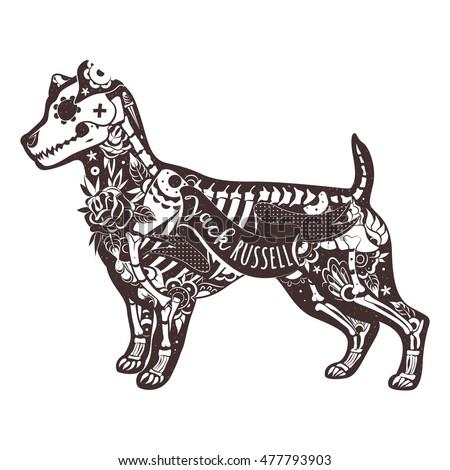 Stylized skeleton Jack Russell