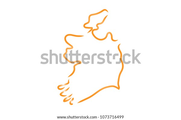 Sketch Map Of Ireland.Stylized Sketch Map Ireland Stock Vector Royalty Free 1073716499