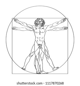 Stylized sketch of the Vitruvian man or Leonardo's man. Homo vitruviano vector illustration based on Leonardo da Vinci artwork