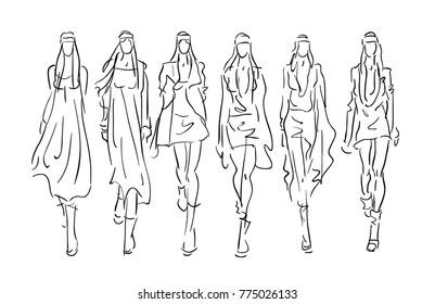 Stylized  Sketched Fashion Models