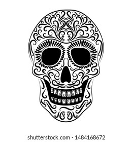 The stylized skull is drawn with a black line from the ornament. Symbol. Day of the Dead holiday. Mexico. Isolated image of a tattoo. Template. Silhouette. Circuit. Dia de los Muertos. Vector.