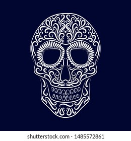 The stylized skull is drawn by a white line from the ornament on a blue background. Symbol. Day of the dead. Holiday. Mexico. Tattoo. Template. Silhouette. Circuit. Dia de los Muertos. Vector.