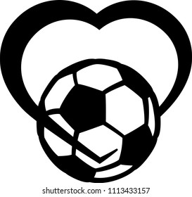 stylized soccer ball or football wrapped in the bottom of a heart.