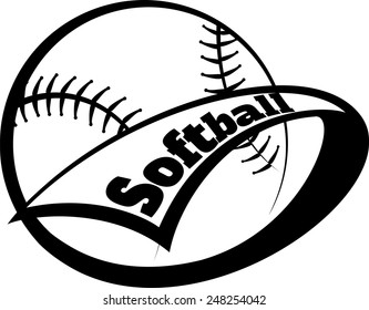 Stylized softball with a pennant swooping around it and the word softball inside the pennant.