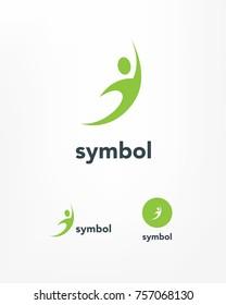 Stylized sport silhouette symbol.