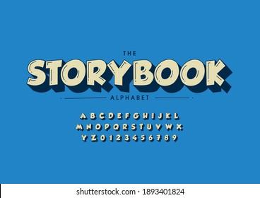 Stylized storybook alphabet font vector