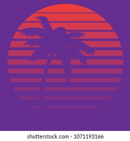 Stylized striped sun and palm tree abstract futuristic design background.