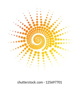 stylized sun of circles. vector