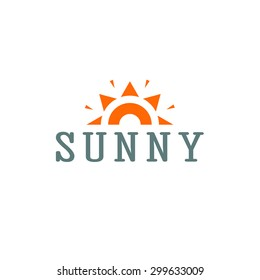 Stylized sun logo flat style. Round warm abstract form. Vector design element of the summer heat. Solar icon
