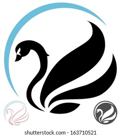 stylized swan - side view. Vector illustration