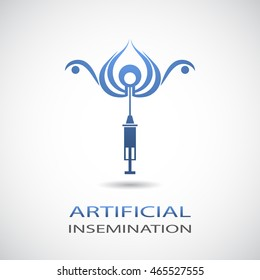 Stylized symbol of artificial insemination process.Vector logo.