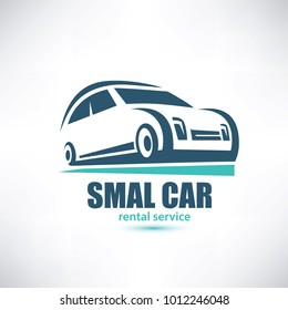 stylized symbol of midget car, micro automobile logo template