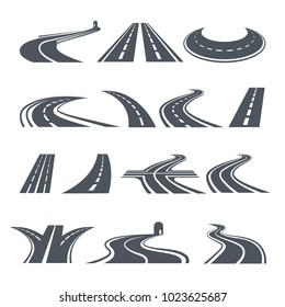 Stylized symbols of road and highway. Pictures for logo design. Vector road and way, asphalt pathway and highway curve illustration