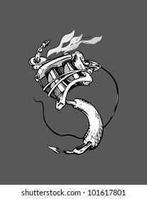 Stylized Tattoo Machine based upon the yin yang symbol