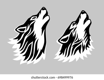 Stylized tattoo vector illustration of howling wolf
