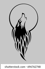 Stylized tattoo vector illustration of wolf howling at the moon