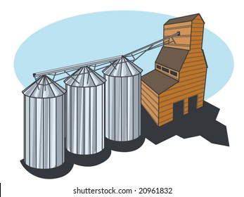 a stylized technical vector illustration of a grain elevator and silos