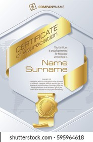 Stylized Template of Certificate of Appreciation with ribbons and golden badge, in gold