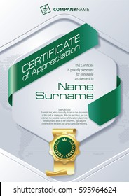 Stylized Template of Certificate of Appreciation with ribbons and golden badge, in green