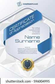 Stylized Template of Certificate of Appreciation with ribbons, triangular background and golden badge, in blue