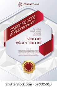 Stylized Template of Certificate of Appreciation with ribbons, triangular background and golden badge, in red