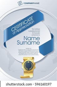 Stylized Template of Certificate of Appreciation with ribbons and golden badge on round plane, in blue