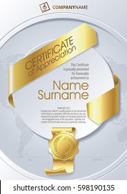 Stylized Template of Certificate of Appreciation with ribbons and golden badge on round plane
