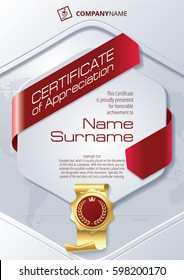 Stylized Template of Certificate of Appreciation with ribbons and golden badge, in red