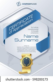 Stylized Template of Certificate of Appreciation with ribbons and golden badge, in blue