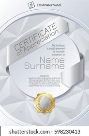 Stylized Template of Certificate of Appreciation with ribbons, golden badge on round plane and triangular background, in silver