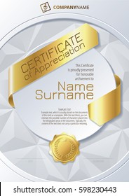 Stylized Template of Certificate of Appreciation with ribbons, golden badge on round plane and triangular background
