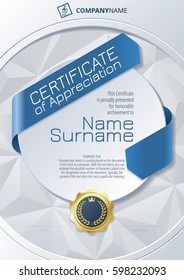 Stylized Template of Certificate of Appreciation with ribbons, golden badge on round plane and triangular background, in blue